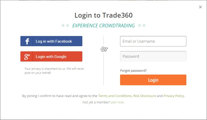 trade360 social network integration